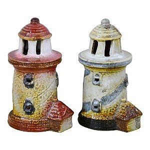 Farol Listrado Jogo c/3 em Cerâmica