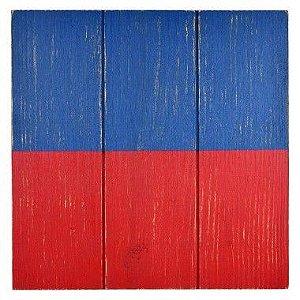 Quadro Bandeira Náutica Vermelha e Azul em Madeira