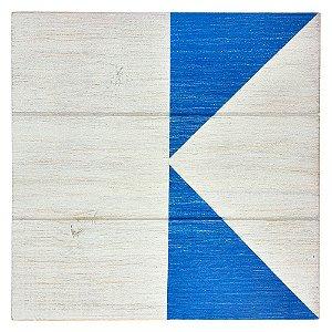 Quadro Bandeira Náutica Branca e Azul em Madeira