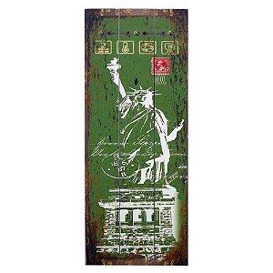 Quadro Rústico Estatua Da Liberdade Verde
