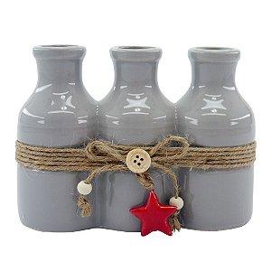 Vaso de Cerâmica Star 3 Cinza