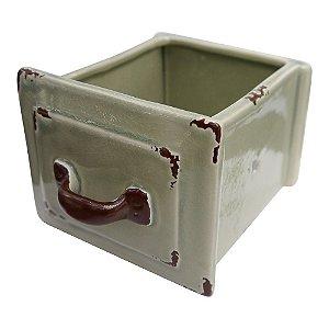 Vaso de Cerâmica Estilo Gaveta Verde