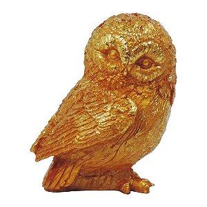Coruja Decorativa Dourada Resina