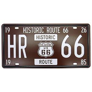 Placa Decorativa em Metal Historic 66