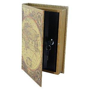 Porta-Objetos com Chave Livro Mundo