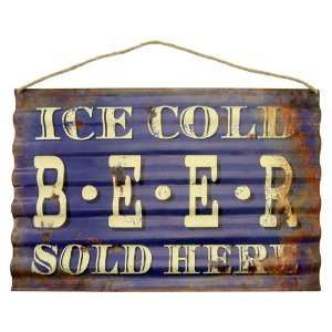 Placa em Metal Ice Cold Beer