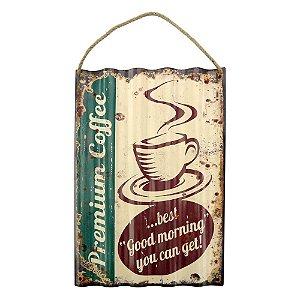 Placa em Metal Coffee