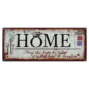 Placa em Metal Home