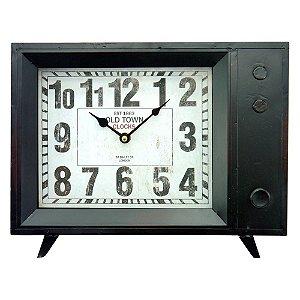 Relógio Vintage Tv Preto
