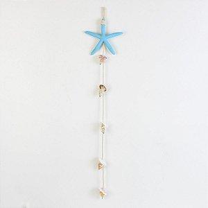 Enfeite Suspenso Estrela Azul Claro com Conchas