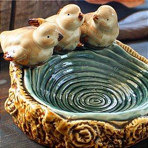 Saboneteira de Cerâmica Azul Passarinhos