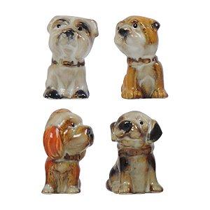 Jogo c/4 Cachorrinhos Miniatura em Cerâmica