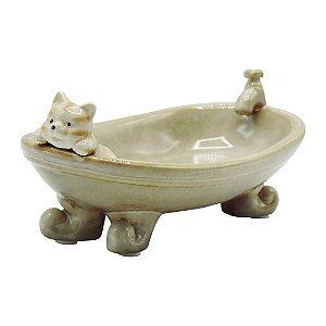 Saboneteira de Cerâmica Gatinho Na Banheira