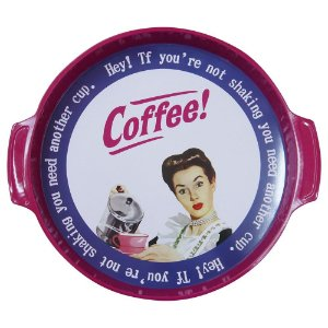 Bandeja em Metal Retrô Coffee