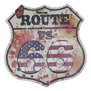 Placa em Metal Decorativa Route USA Branca