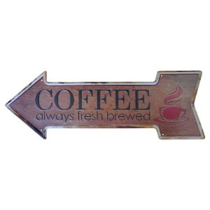 Placa em Metal Decorativa Coffee Always