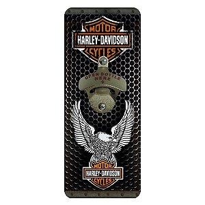Abridor de Garrafa Quadrado de Parede Harley Davidson Águia
