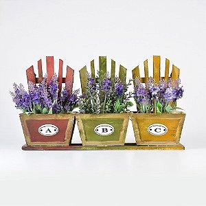 Porta Flores Cadeiras Coloridas