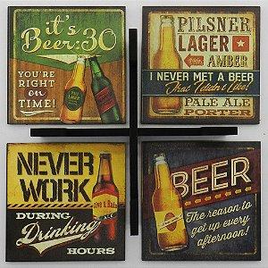 Jogo C/4 Porta Copos Quadrados Cerveja