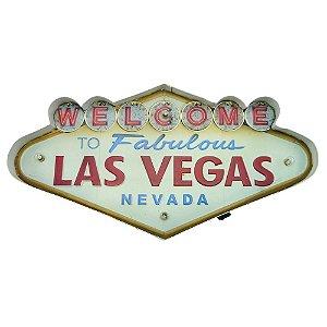 Placa em Metal Las Vegas com Luzes de Led