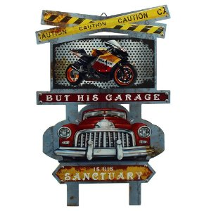 Placa de Madeira Vintage Garage
