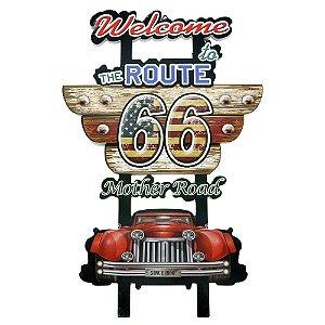 Placa de Madeira Decorativa Rota 66