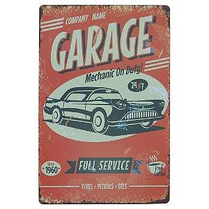 Placa em Metal Garage