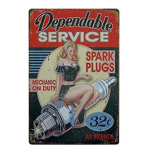 Placa em Metal Spark Plugs
