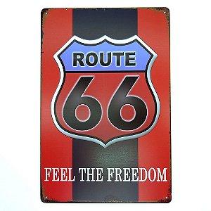 Placa em Metal Route 66 Vermelho