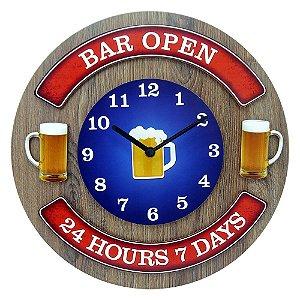 Relógio de Parede Bar Open