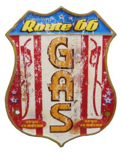 Placa em Metal Decorativa Route 66
