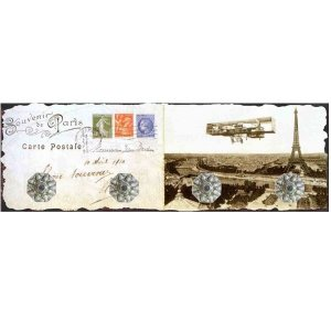 Porta Chaves Cartao Postal Paris em Vidro