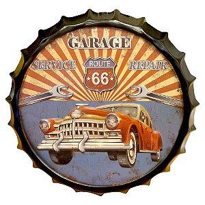 Tampa em Metal Decorativa Garage Route