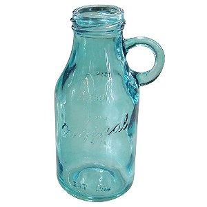 Vaso de Vidro Azul Estilo Garrafa