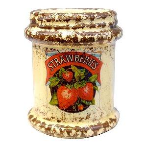 Vaso Rústico de Cerâmica Strawberries
