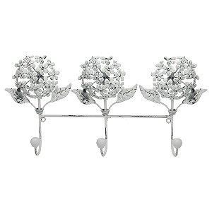 Cabideiro de Parede Vintage Flores Brancas