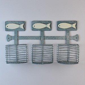 Porta Trecos Cestas Azuis com Peixes