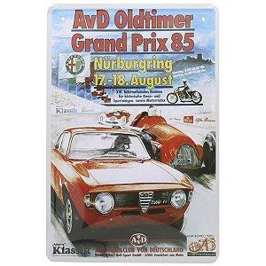 Placa em Metal Decorativa Red Car 85