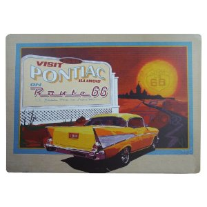 Placa em Metal Decorativa Pontiac Route 66
