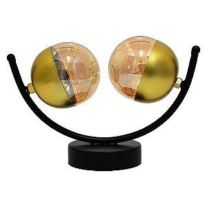 Luminária Ball LED dourado e preto