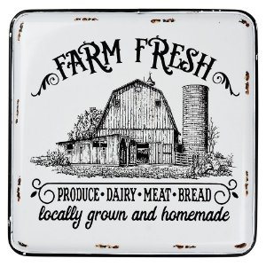 Placa em Metal Farm Fresh 35X40Cm