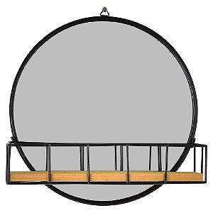 Espelho Preto com Mini Prateleira 25Cm