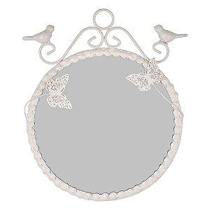 Espelho Butterfly Branco em Metal 20Cm