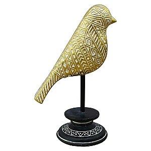 Enfeite Pássaro Gold em Pé em Madeira