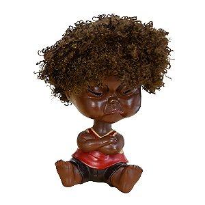 Bebê Black Power Vermelho em Resina