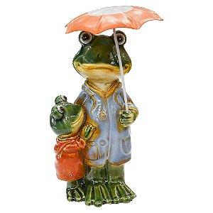 Enfeite Sapos Umbrella em Cerâmica