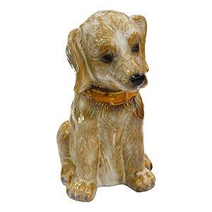 Enfeite Cachorro Bege em Cerâmica