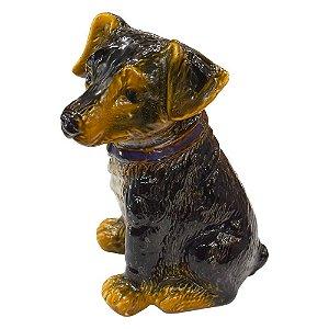 Enfeite Cachorro Preto em Cerâmica