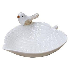 Porta Objetos Folha Branca em Cerâmica