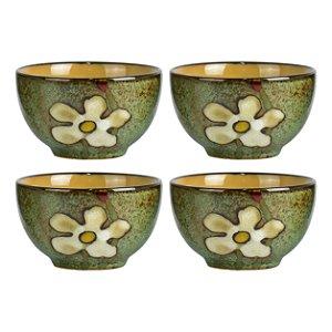 Mini Bowl Flores Jogo C/4 Peças em Cerâmica